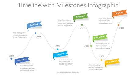Timeline with Milestones Infographic Presentation Template, Master Slide