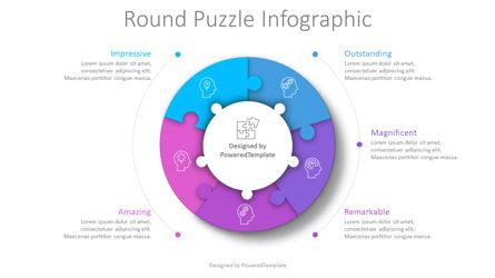 Round Puzzle Infographic Presentation Template, Master Slide