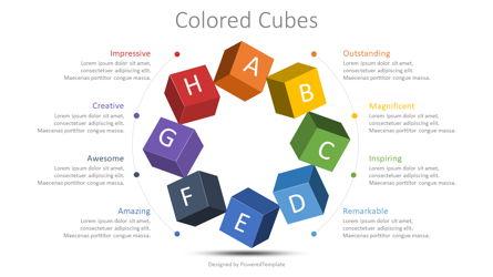 Colored Cubes Round Diagram Presentation Template, Master Slide