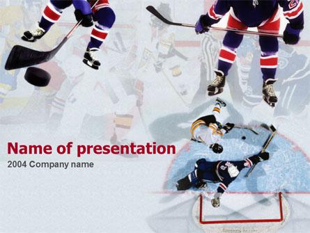 Ice Hockey Players Presentation Template, Master Slide  Hockey Templates Free