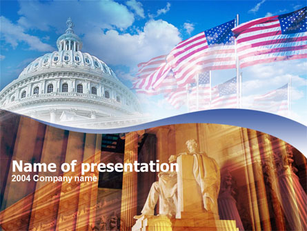 United States Capitol With Lincoln Memorial Presentation Template, Master Slide