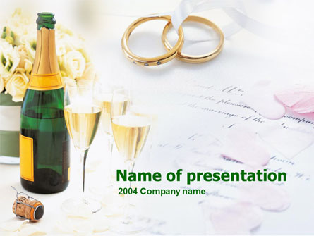 Wedding Rings And Champagne Presentation Template, Master Slide