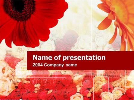 Red Flowers Presentation Template, Master Slide