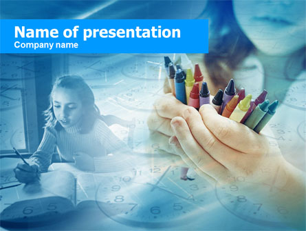 Crayons in Hands Presentation Template, Master Slide