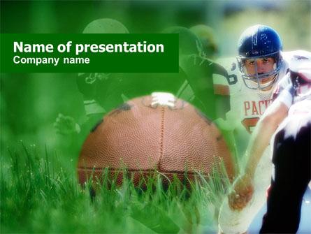 American Football In A Green Grass Presentation Template, Master Slide