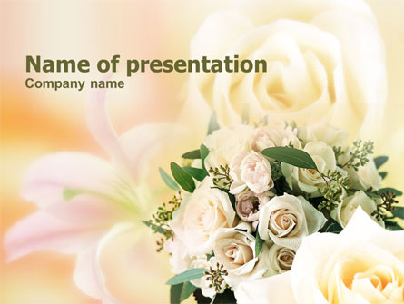 Tea Roses Wedding Bouquet Presentation Template Master Slide