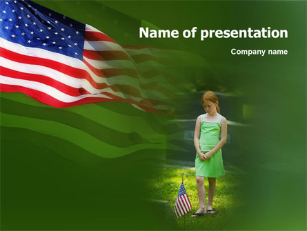 Little Girl In Memorial Day Free Presentation Template, Master Slide