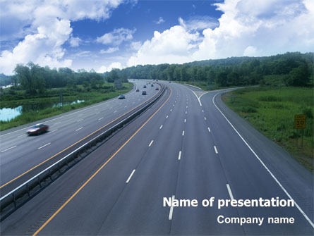 Highway In Twilight Presentation Template For Powerpoint And Keynote