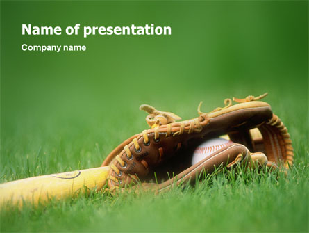 Baseball Powerpoint Template | Baseball Glove And Bat Presentation Template For Powerpoint And