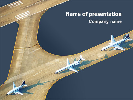 Airport on sky powerpoint templates blue, car & transportation.