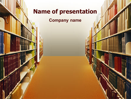library book shelves presentation template for powerpoint and, Presentation templates