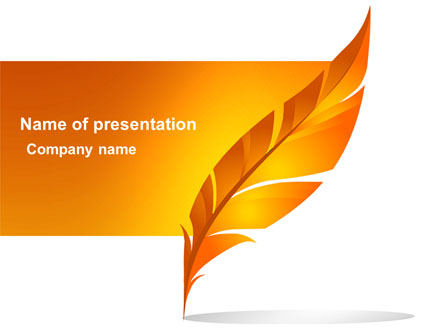 feather in orange color presentation template for powerpoint and