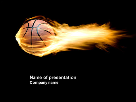 Flaming Basketball Presentation Template For Powerpoint And