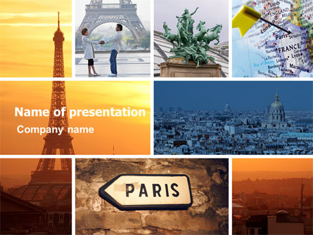 Paris In Collage Presentation Template For Powerpoint And