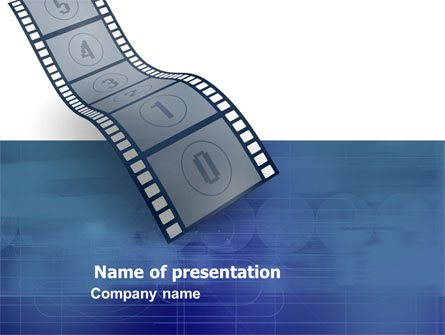 film strip in blue color presentation template for