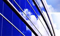 Blue Glass Skyscraper Presentation Template