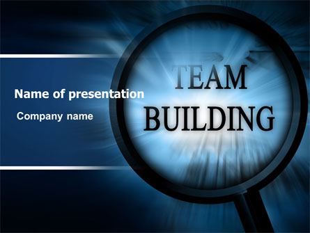 Team building theme in a deep blue presentation template for Team building powerpoint presentation templates