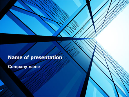 Blue Windows Of Skyscraper Presentation Template For