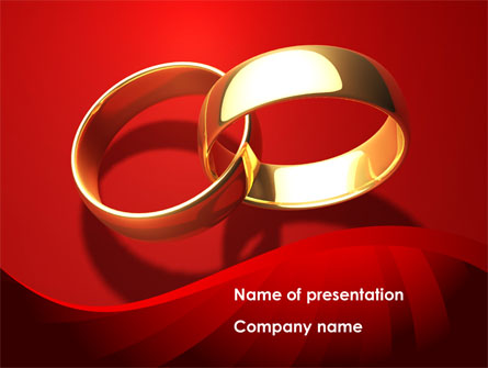 Wedding Rings On A Bright Red Background Presentation Template Master Slide