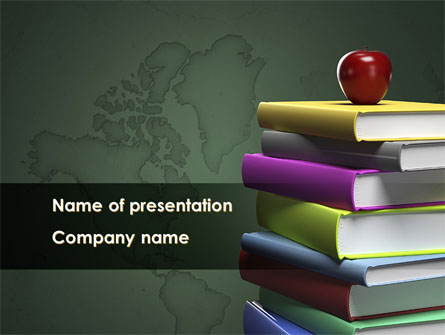 books stack and apple presentation template for powerpoint and, Presentation templates
