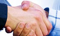 Handshake In Blue Colors Presentation Template