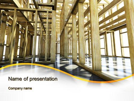 Wooden House Framework Presentation Template, Master Slide