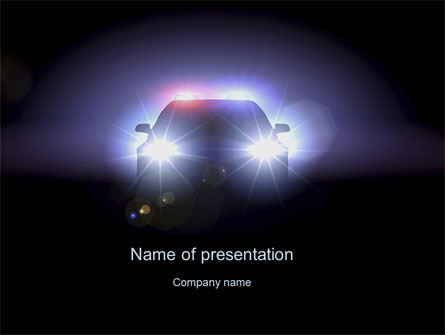 police car at night presentation template for powerpoint