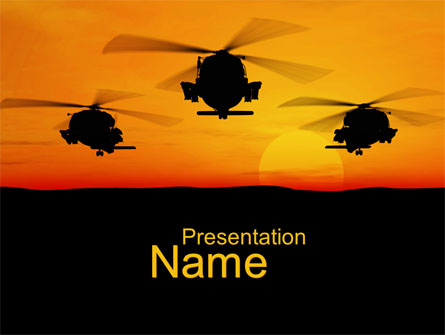 Helicopters at Sunset Presentation Template, Master Slide