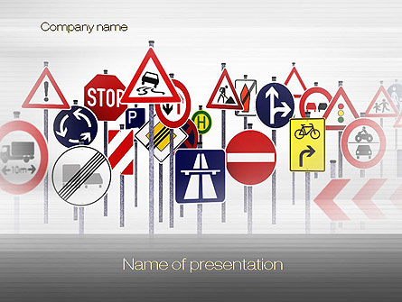Powerpoint sign template road signs sign board transportation ppt.