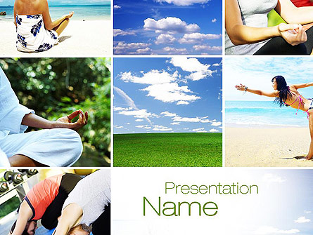 yoga collage presentation template for powerpoint and keynote, Presentation templates