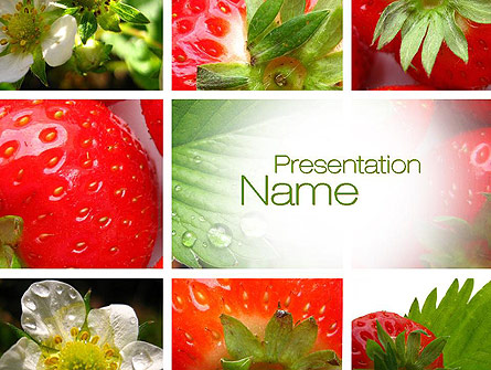 strawberries collage presentation template for powerpoint and