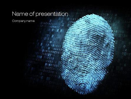 Fingerprint on Digital Screen Presentation Template, Master Slide
