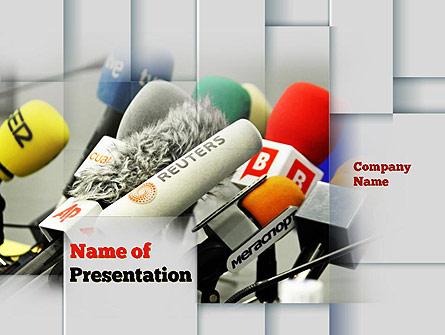 Press Conference Microphones Presentation Template, Master Slide