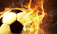 Football in Fire Flame Presentation Template