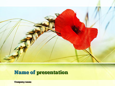 Poppy in Wheat Presentation Template, Master Slide