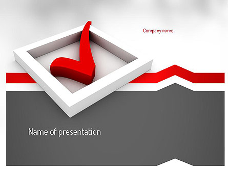 Red Check Mark Presentation Template, Master Slide