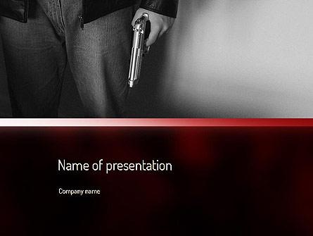 Man Holding a Gun Presentation Template, Master Slide