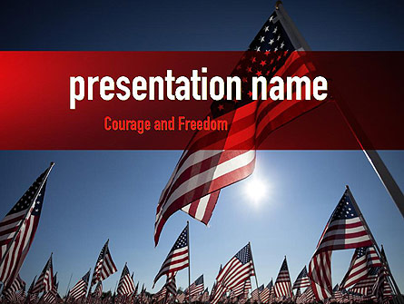 Large Group of American Flags Presentation Template, Master Slide