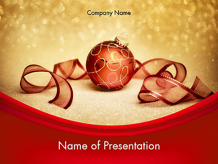 red-gold christmas theme presentation template for powerpoint and, Presentation templates