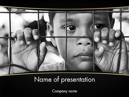 Kid Behind a Fence Presentation Template, Master Slide