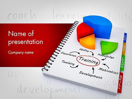 training plan with pie chart presentation template for powerpoint