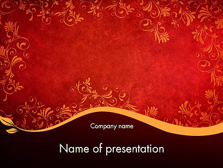 red and gold floral pattern presentation template for powerpoint, Presentation templates