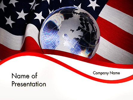 Globe and USA Flag Presentation Template, Master Slide