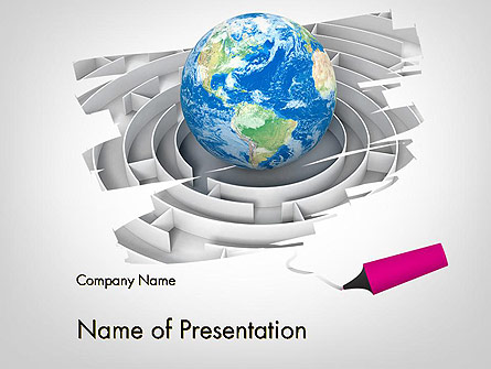Earth in Maze Presentation Template, Master Slide