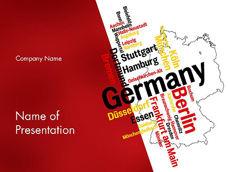 Germany Map and Cities Word Cloud Presentation Template, Master Slide