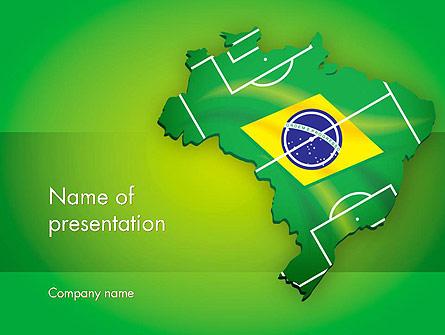 Brazil Flag Map with Football Field Presentation Template, Master Slide