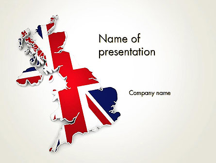 Great Britain Flag Map Presentation Template, Master Slide