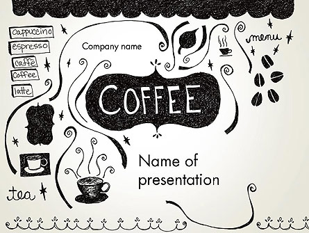 coffee doodles presentation template for powerpoint and
