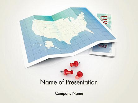 USA Map Locations Presentation Template, Master Slide