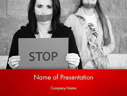 Protesting Girl Presentation Template, Master Slide